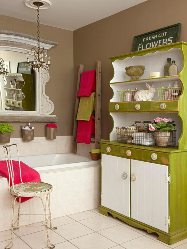 badezimmer gestaltungsideen farbig grüner schrank rosa akzente