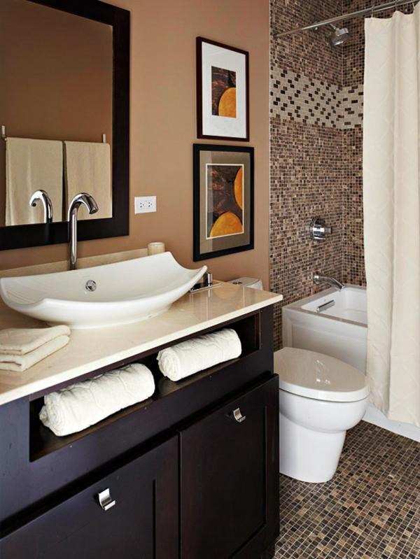badezimmer gestaltungsideen braune badmöbel