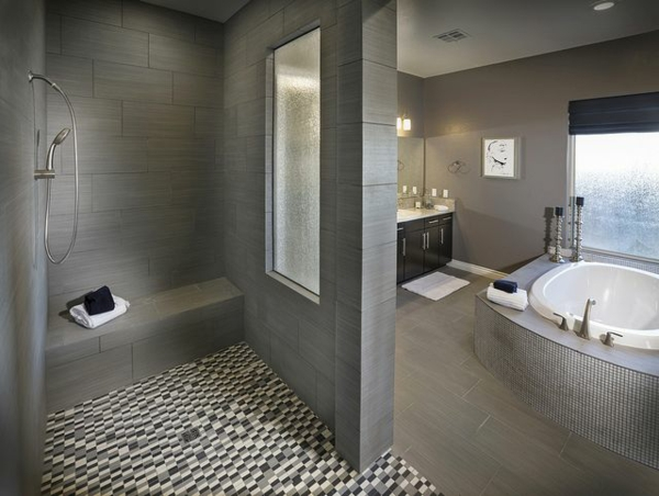 Badezimmer Bodenbelag Ideen : Badezimmergestaltung Ideen  Farben und Muster