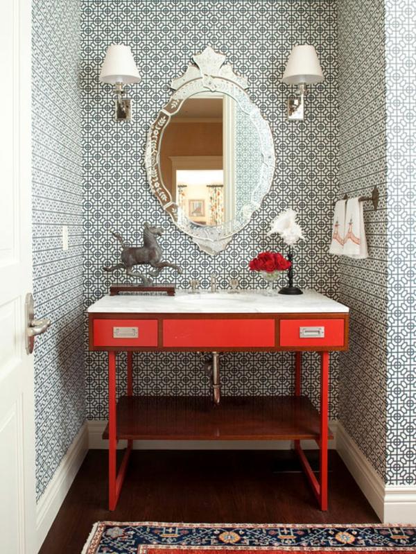 badezimmer gestaltungsideen schwarz weiß roter beistelltisch