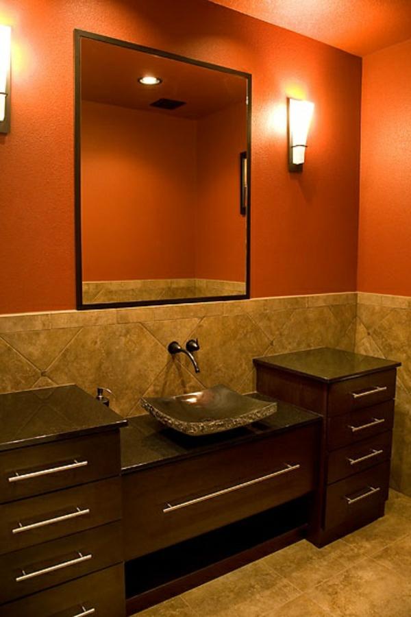 badezimmer gestaltungsideen farbgestaltung orange braun