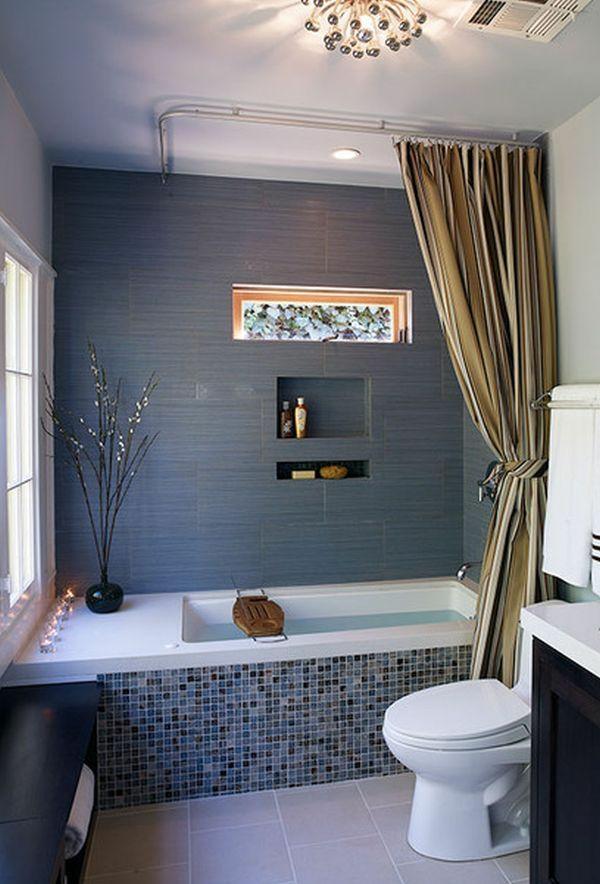 badezimmer ideen badewanne badvorhänge duschvorhang warme farben