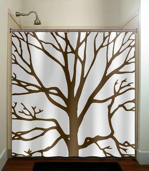 badezimmer ideen badvorhänge duschvorhang baum motiv