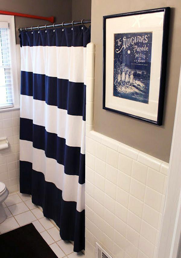 badezimmer badvorhang duschvorhang blau weiße streifen