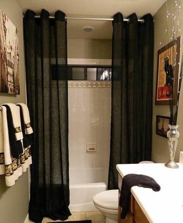 badezimmer ideen badvorhänge duschvorhang schwarz dekoideen