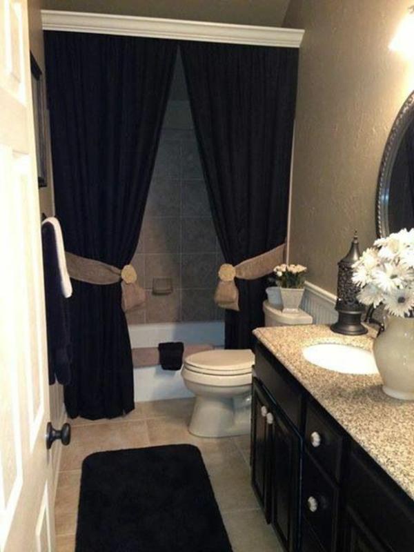 badezimmer ideen badvorhänge duschvorhang schwarz teppich