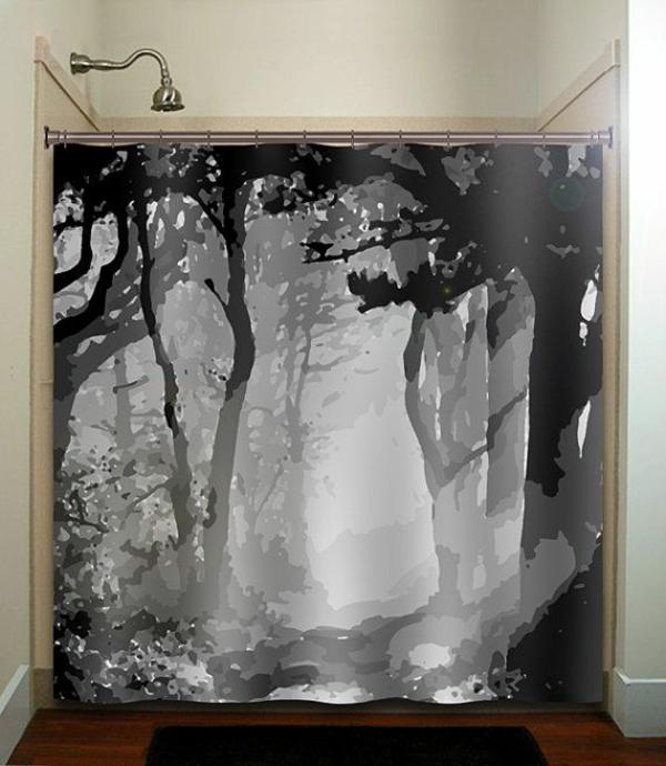 badezimmer ideen badvorhänge duschvorhang wald motive