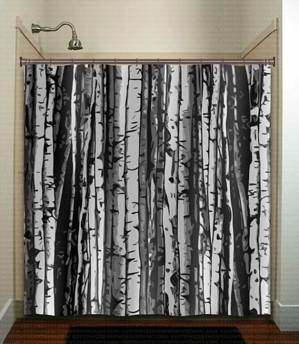 badezimmer badvorhänge duschvorhang wald motive