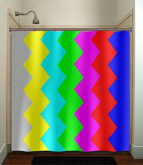 badezimmer badvorhänge duschvorhang zigzag muster signal farben