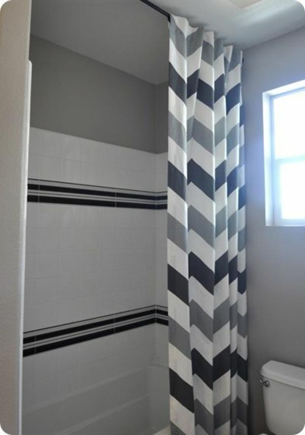 badezimmer badvorhänge duschvorhang zigzag muster