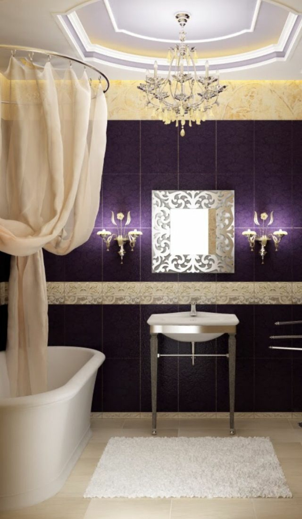 badezimmer ideen luxuriös badvorhang über der badewanne