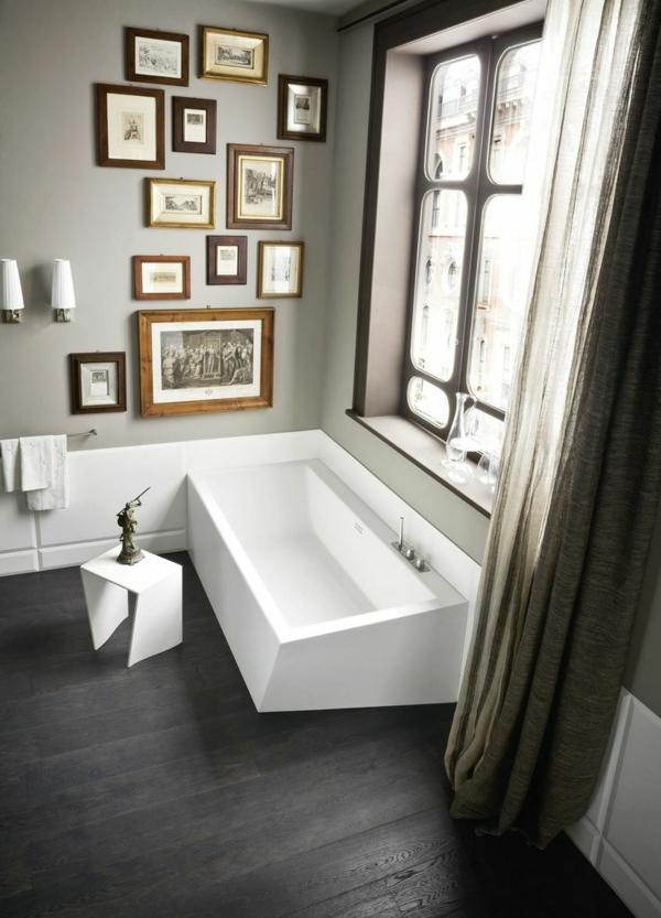 badezimmer ideen luxuriös badvorhang badewanne wandgestaltung