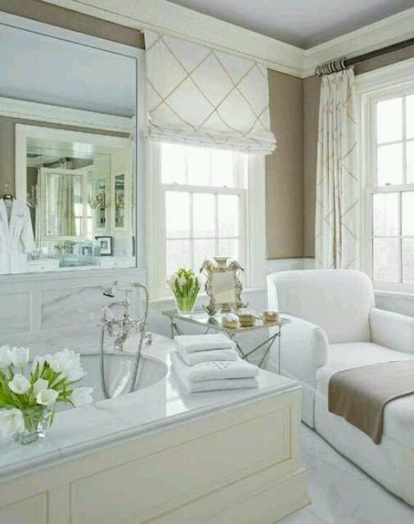 badezimmer ideen luxuriös badvorhang rollos