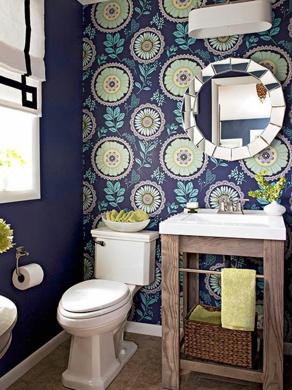 badezimmer gestaltung ideen farbige wandtapete blumenmuster