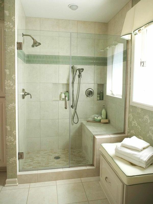 badezimmergestaltung ideen badezimmer grün duschkabine