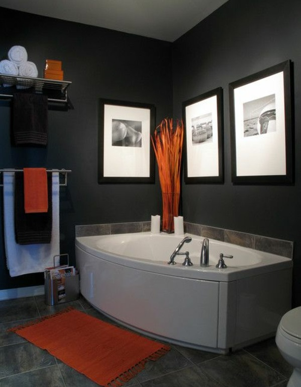 badezimmergestaltung ideen badmöbel jaccuzi orange akzente