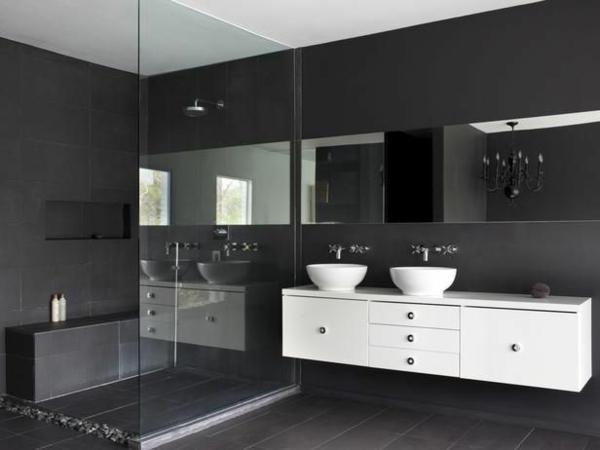 badezimmergestaltung ideen duschkabine glas badmöbel  waschbecken