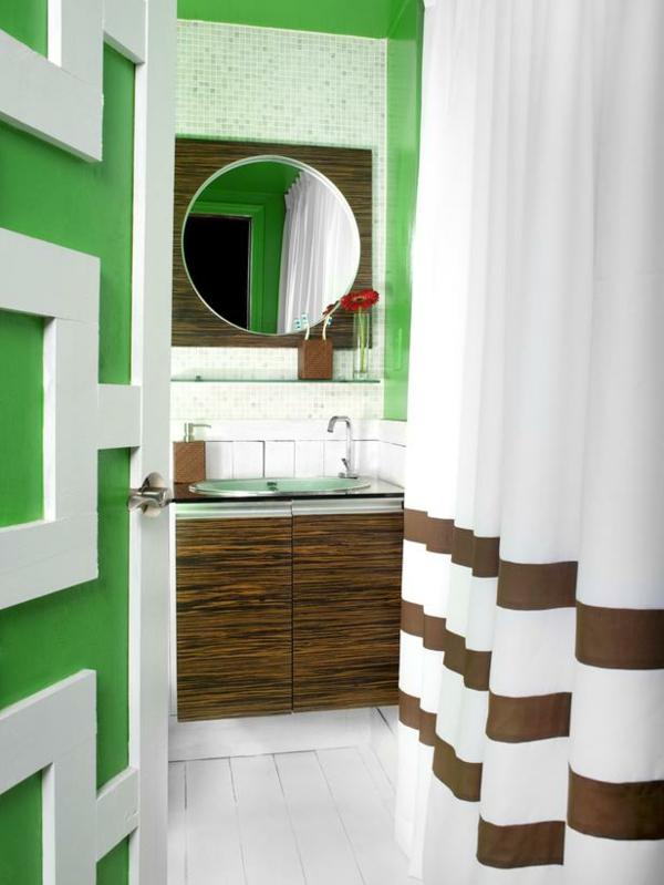 badezimmergestaltung farbig grün weiß braun