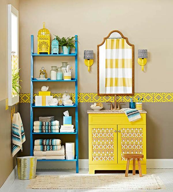 badezimmergestaltung ideen farbige badmöbel schrank