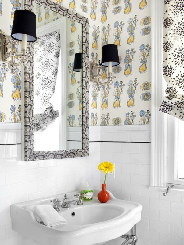 badezimmergestaltung ideen farbige gestaltung wandtapete