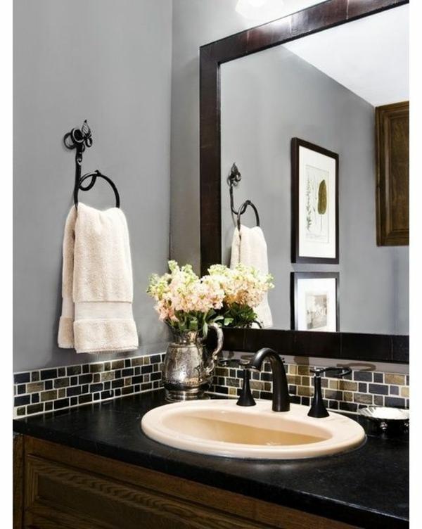 badezimmergestaltung ideen großer spiegel waschbecken