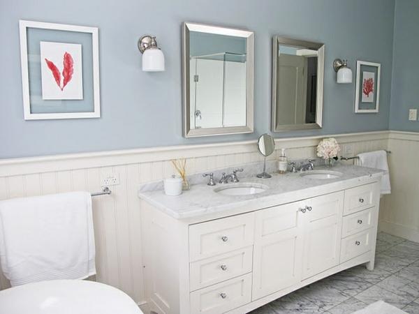 badezimmergestaltung ideen in weiß badmöbel  spiegel