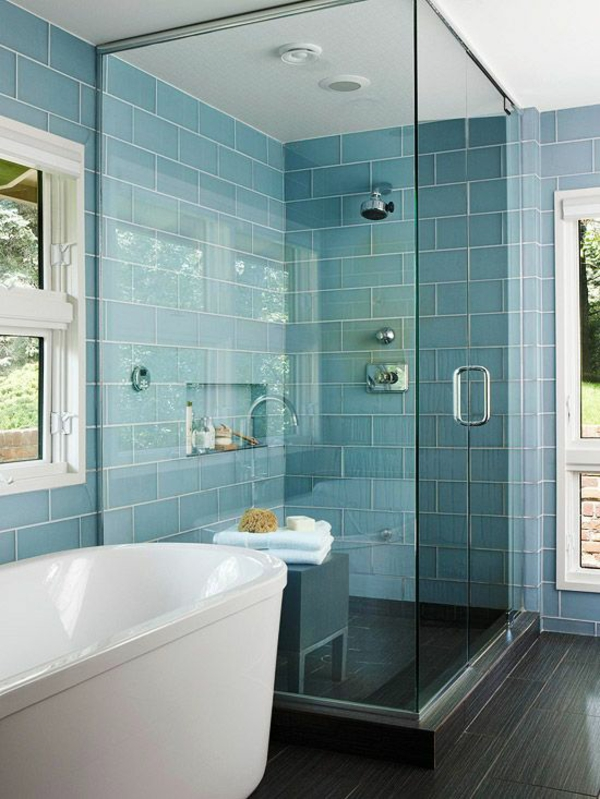 badezimmergestaltung ideen modern blaue fliesen duschkabine