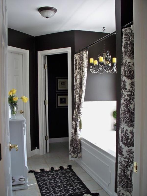 badezimmergestaltung ideen schwarz weiß gardinen teppich
