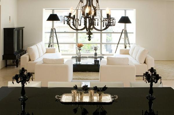 beleuchtungsideen led standleuchten stativleuchten klassisch schwarz weiß wohnzimmer-gestalten