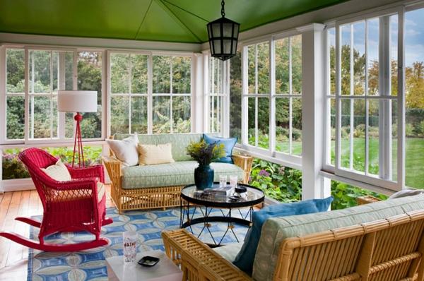 beleuchtungsideen standleuchten stativleuchten sommerhaus villa gestalten farbgestaltung wohnzimmer