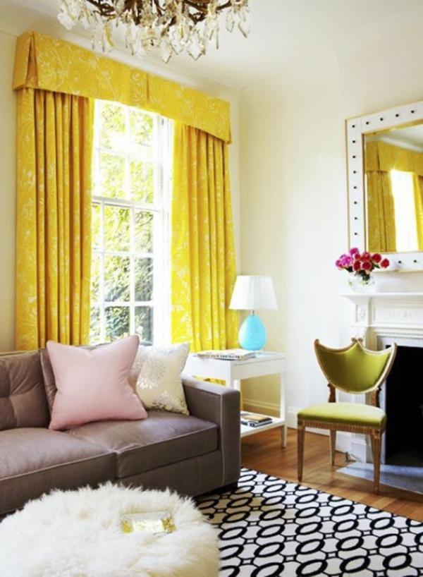 bunte wohnideen gardinen gelb zimmer