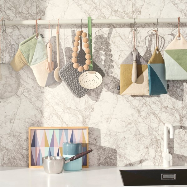 coole wohntrends 2014 wohnideen geometrische muster küchenutensilien rückwand marmor