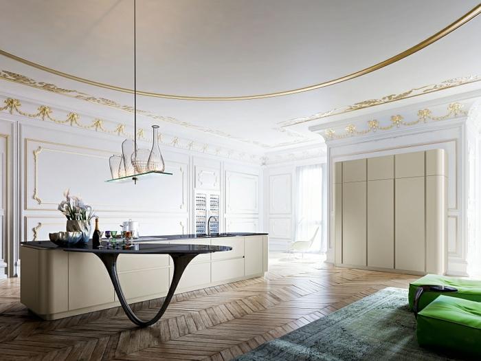 designerküchen moderne küchen chevronmuster holzboden