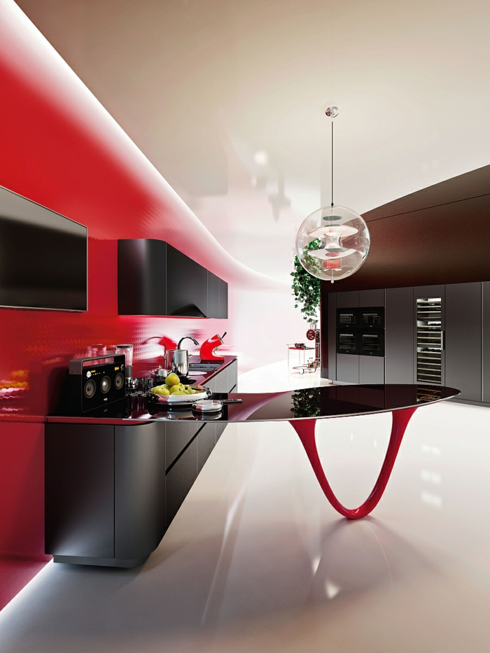 designerküchen moderne küchen italienisches design rote wandfarbe
