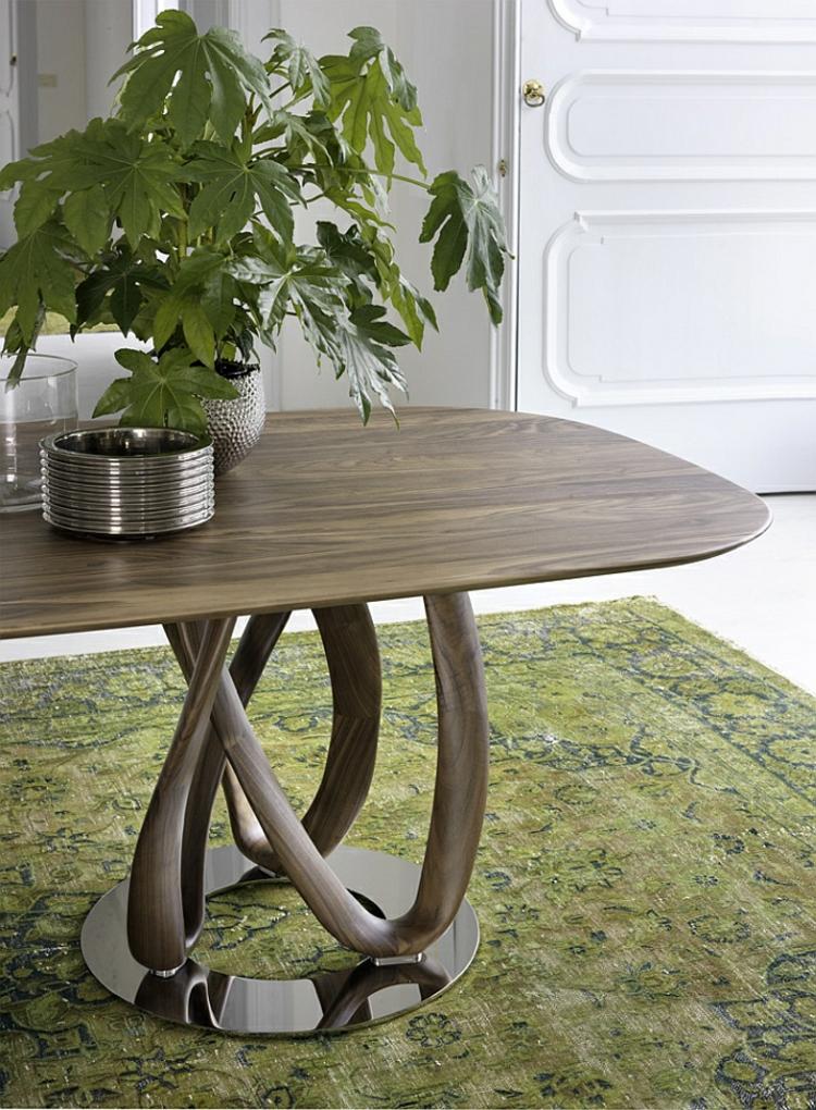 designer esstische oval dünne holzplatte elegante schlichte form
