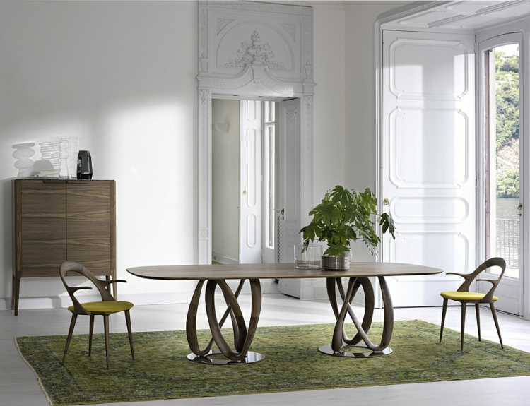 designer esstisch oval essstühle weiß holz elegante schlichte form