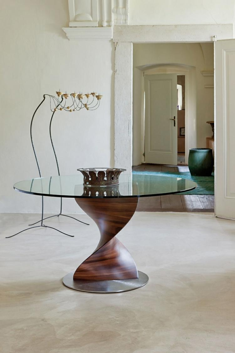 designer esstische rund glasscheibe klassisch elegant