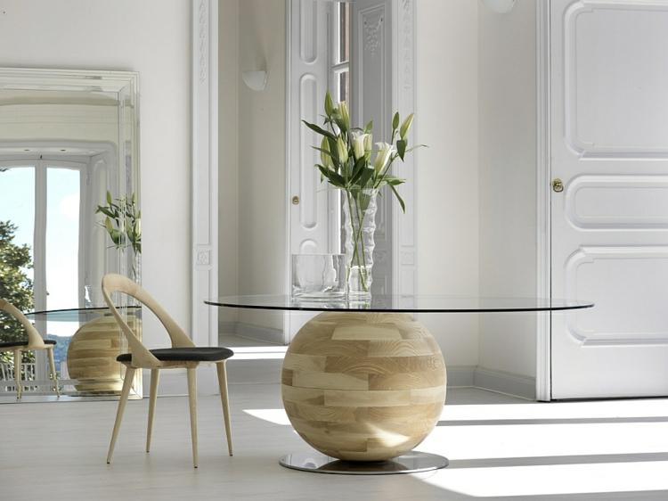 designer esstische rund glasscheibe kugel mit holzoberfläche