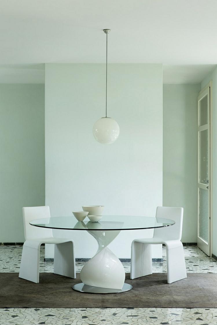 designer esstische rund glasscheibe modern weiß minimalistisch essstühle