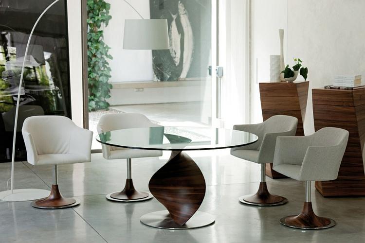 designer esstische holz glas esstisch rund essstühle gepolstert