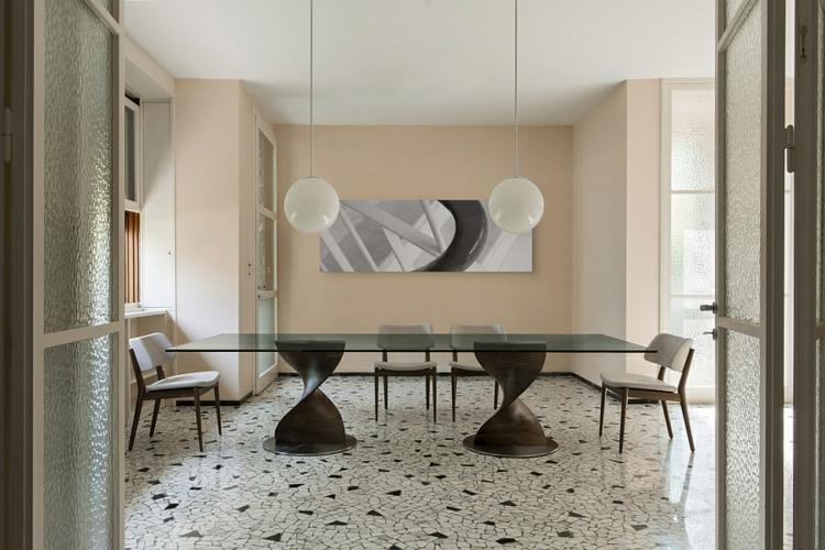 designer esstische holz glasscheibe rechteckig lang essstühle