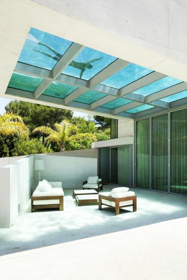 designer terrasse bilder architektenhaus überdachung pool
