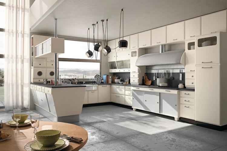 die moderne küche gestalten retro stil vintage designer küche betonplatten boden