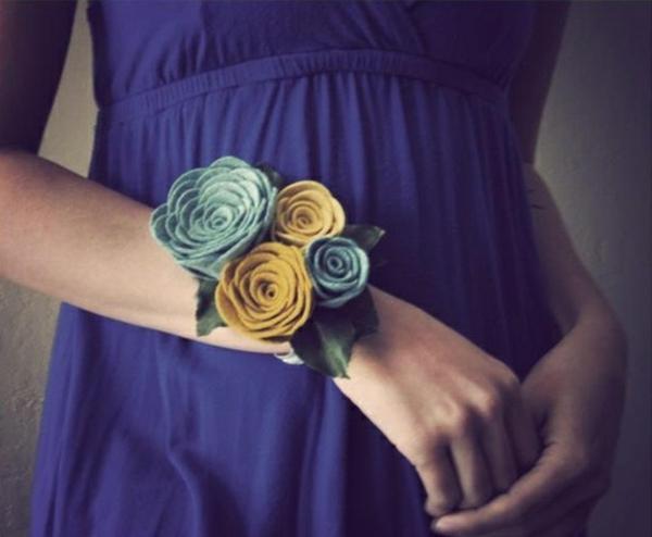 diy deko ideen filzblumen selber machen armband