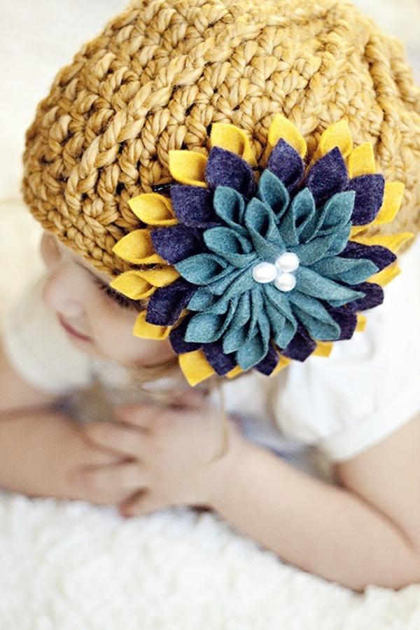 diy deko ideen filzblumen selber machen hut dekorieren