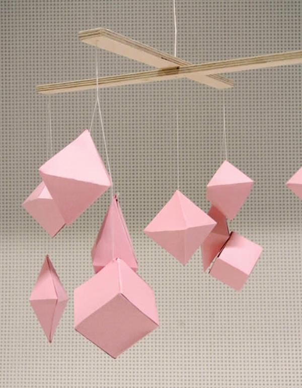 diy mobiles pappe rosa figuren