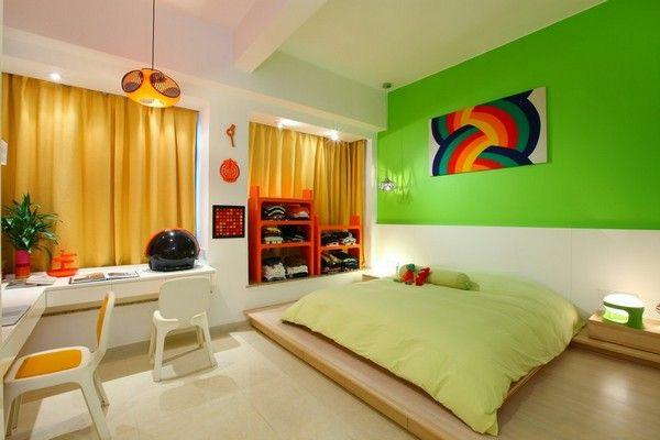 Einraumwohnung Einrichten Bett Grne Wand