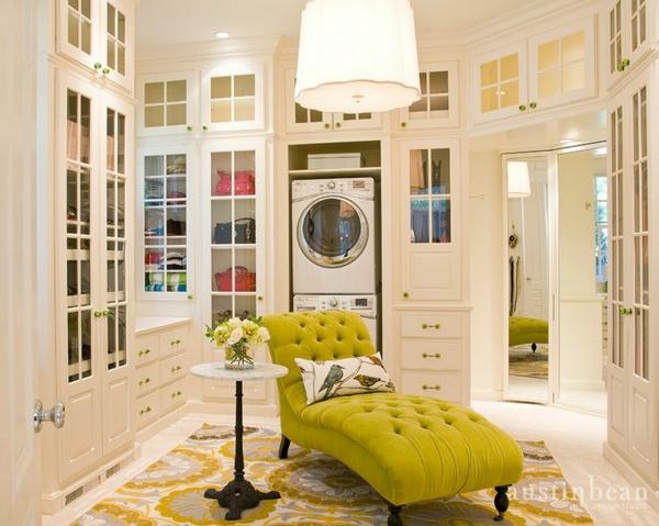 einrichtungsideen ankleidezimmer möbel elegant gelbe liege