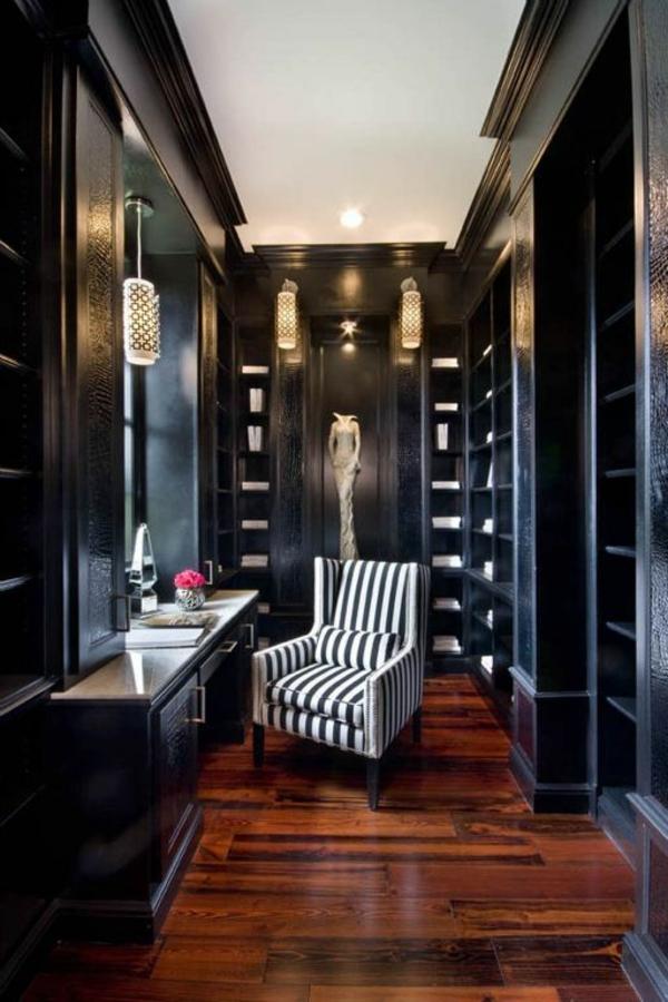 einrichtungsideen ankleidezimmer möbel elegant holz schwarz garderobe