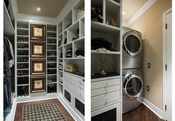 einrichtungsideen ankleidezimmer möbel stilvoll regalsystem